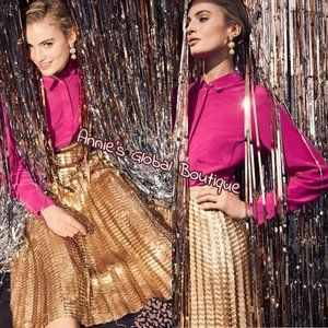 HTF NWT ANTHROPOLOGIE Gold Sequined Pleated Skirt